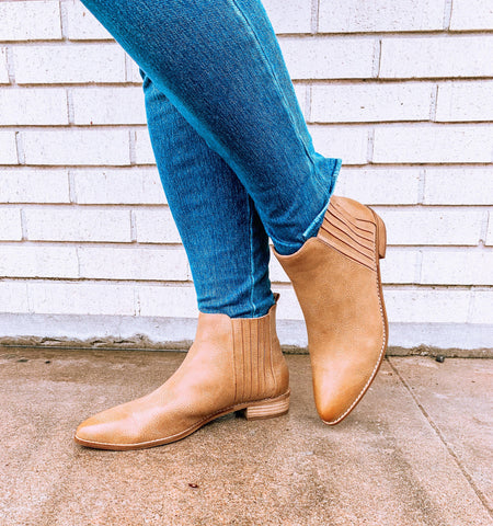 Camel Pointed Flat Bootie - Tres Chic Houston