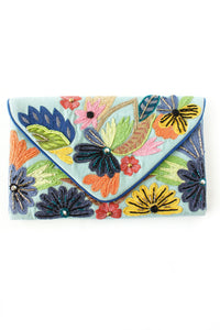 Blue Spring Floral Clutch - Tres Chic Houston