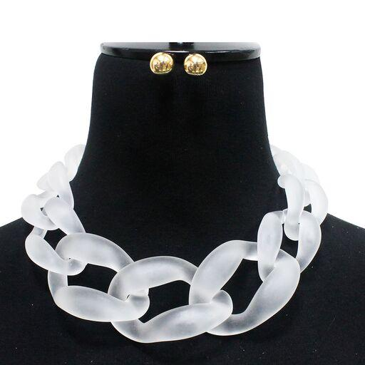 Matte Resin Linked Necklace - Tres Chic Houston