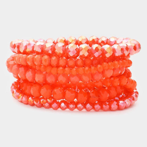 Set of 9 Stretch Beaded Bracelets