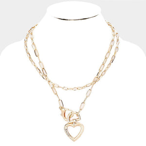 Heart Chain Necklace - Tres Chic Houston