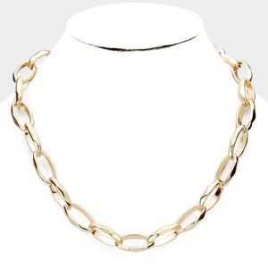 Thick Molded Oval Link Necklace - Tres Chic Houston