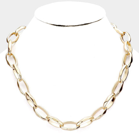 Thick Molded Oval Link Necklace
