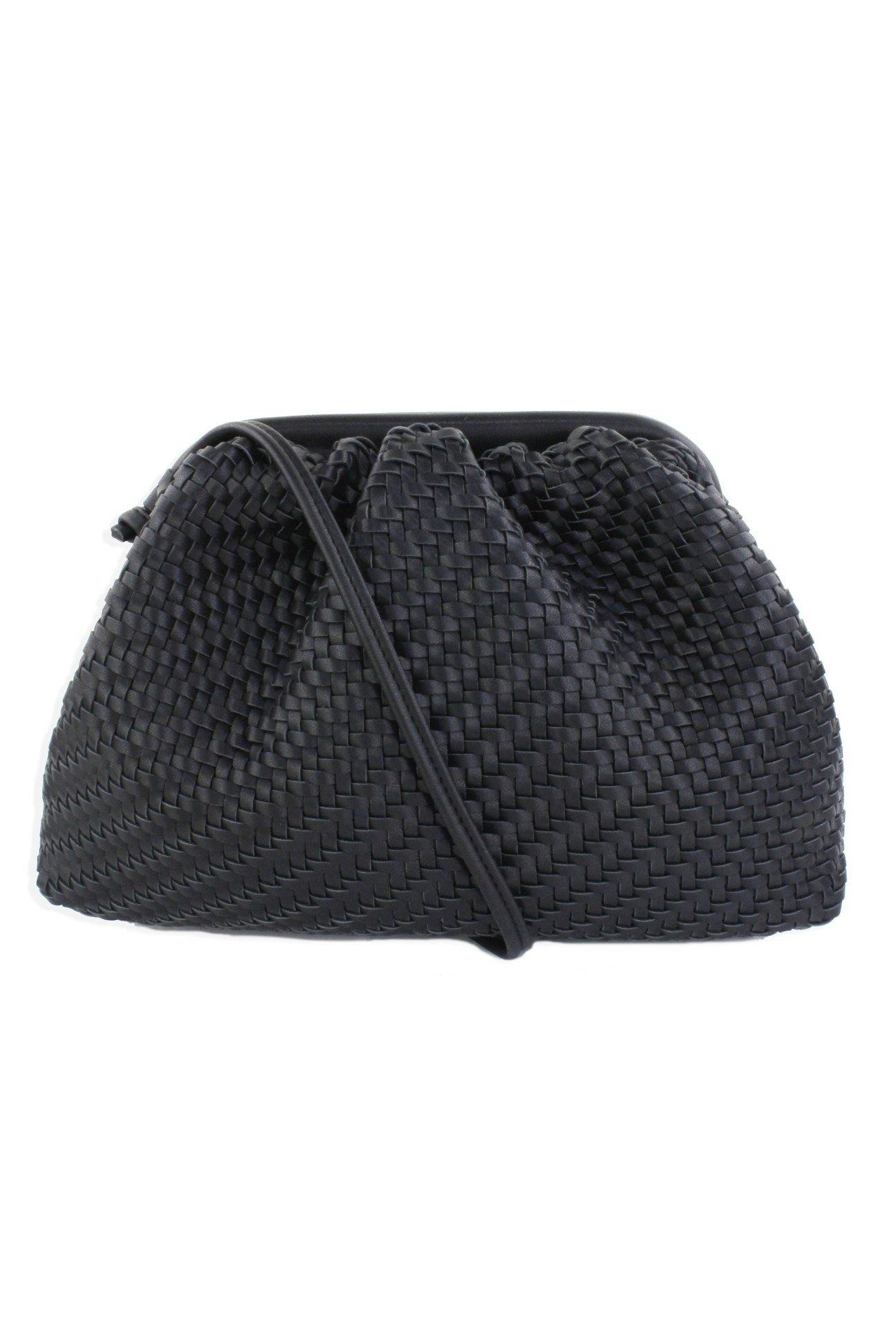 Black Framed Woven Crossbody Bag - Tres Chic Houston