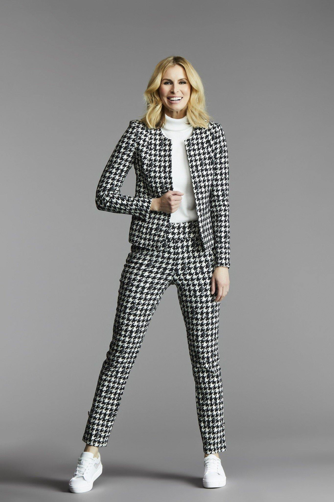 Black & White Herringbone Up! Pants - Tres Chic Houston