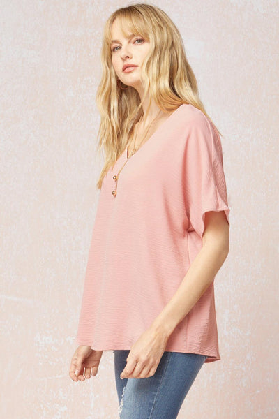 Peachy Blush V-Neck Top