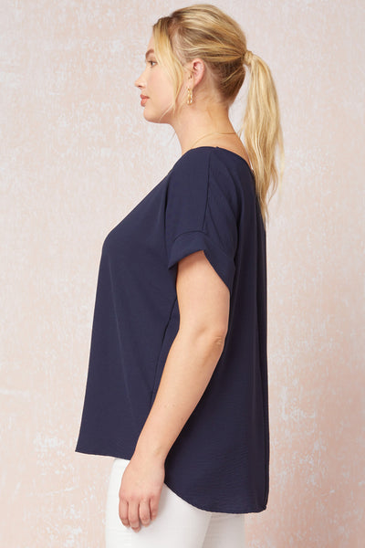 Cuff Sleeved Top in Plus - Tres Chic Houston