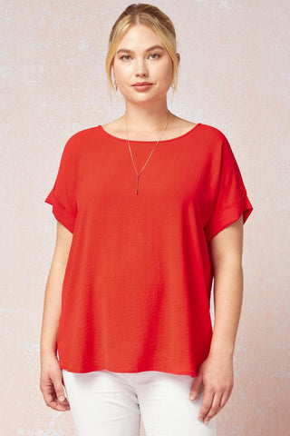 Cuff Sleeved Top in Plus