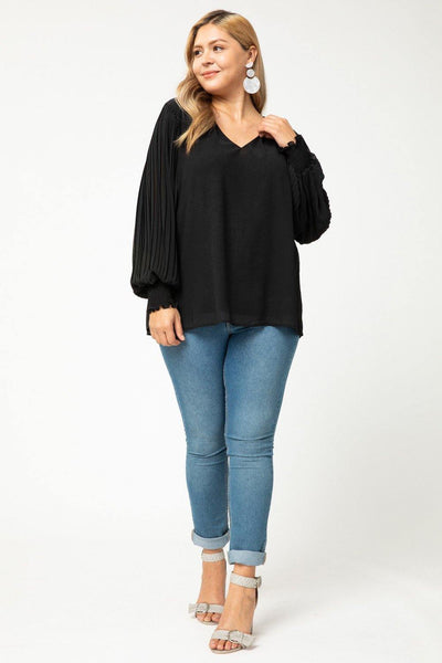 Black Pleated V-Neck Top - Tres Chic Houston