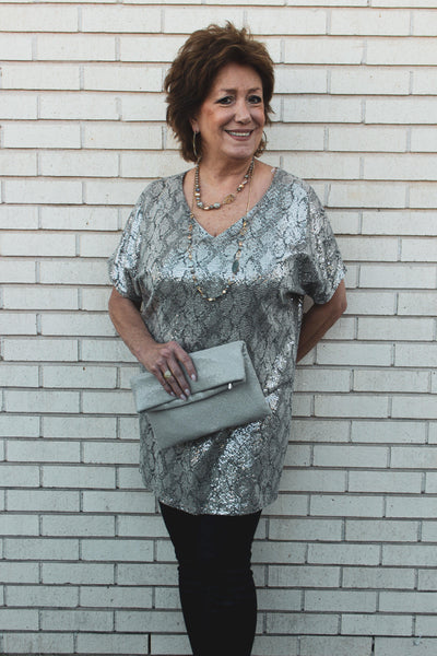 Sparkle Dot Tunic V-Neck - Tres Chic Houston