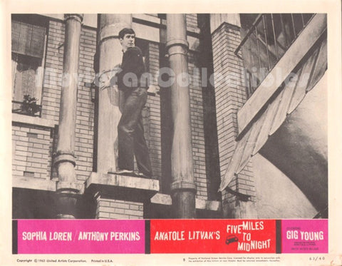 5 Five Miles to Midnight Orig 11x14 Movie Lobby Card Anthony Perkins