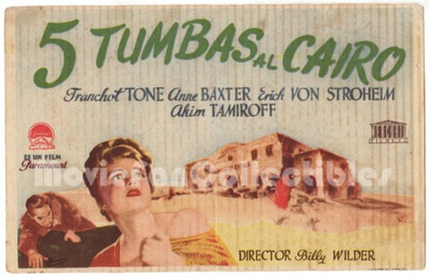 5 Tumbas al Cairo Five Graves to Cairo Mini Movie Poster Anne Baxter