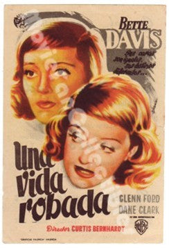 A Stolen Life Una Vida Robada Spanish Movie Poster Bette Davis