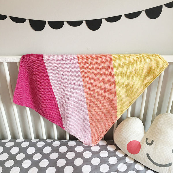DIY: Fruit Stripe Knitted Baby Blanket Pattern + How-To