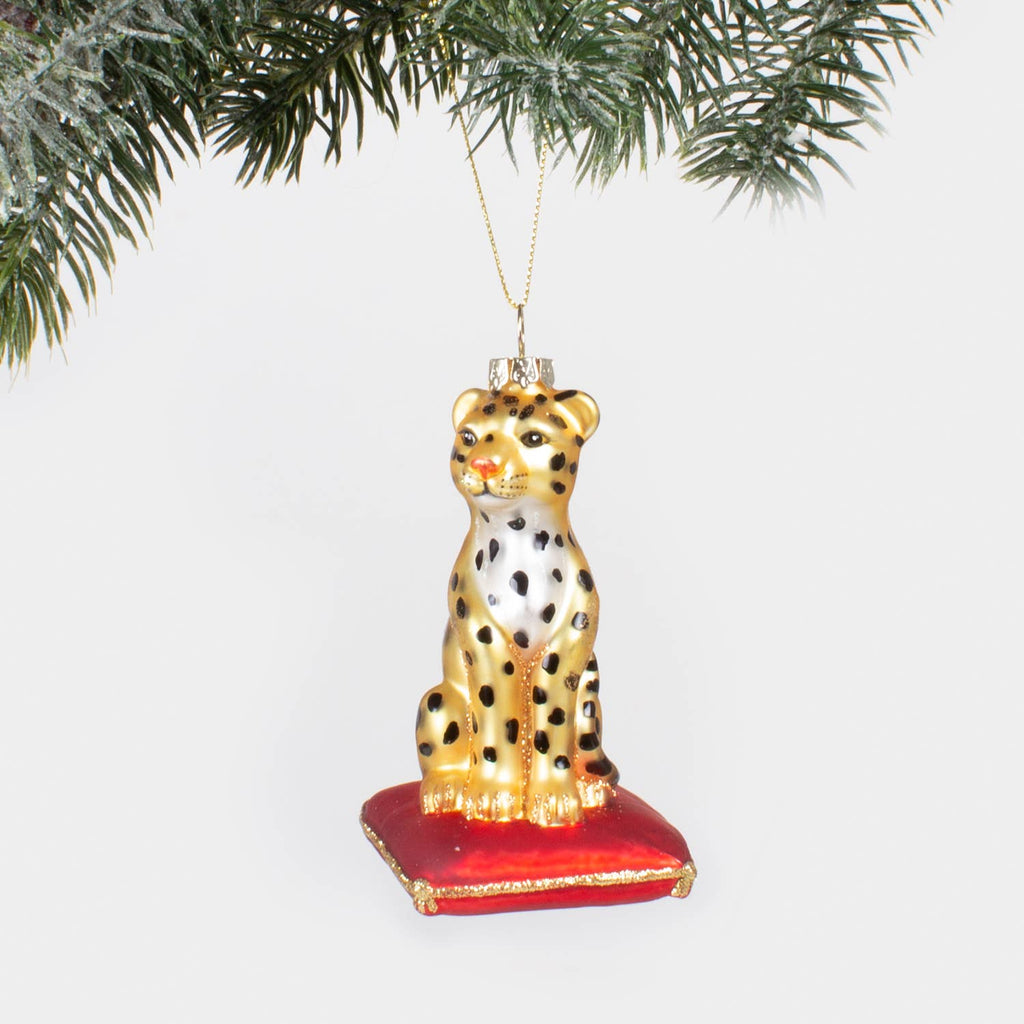 Leopard Glass Ornament - Gift Boxed