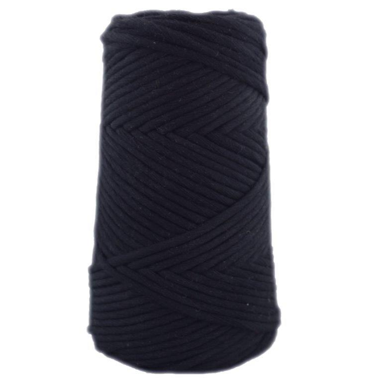 Soft Cotton Macrame Cord 4 mm - Black