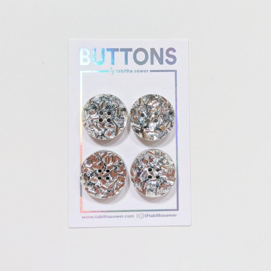Large Silver Glitter Circle Buttons