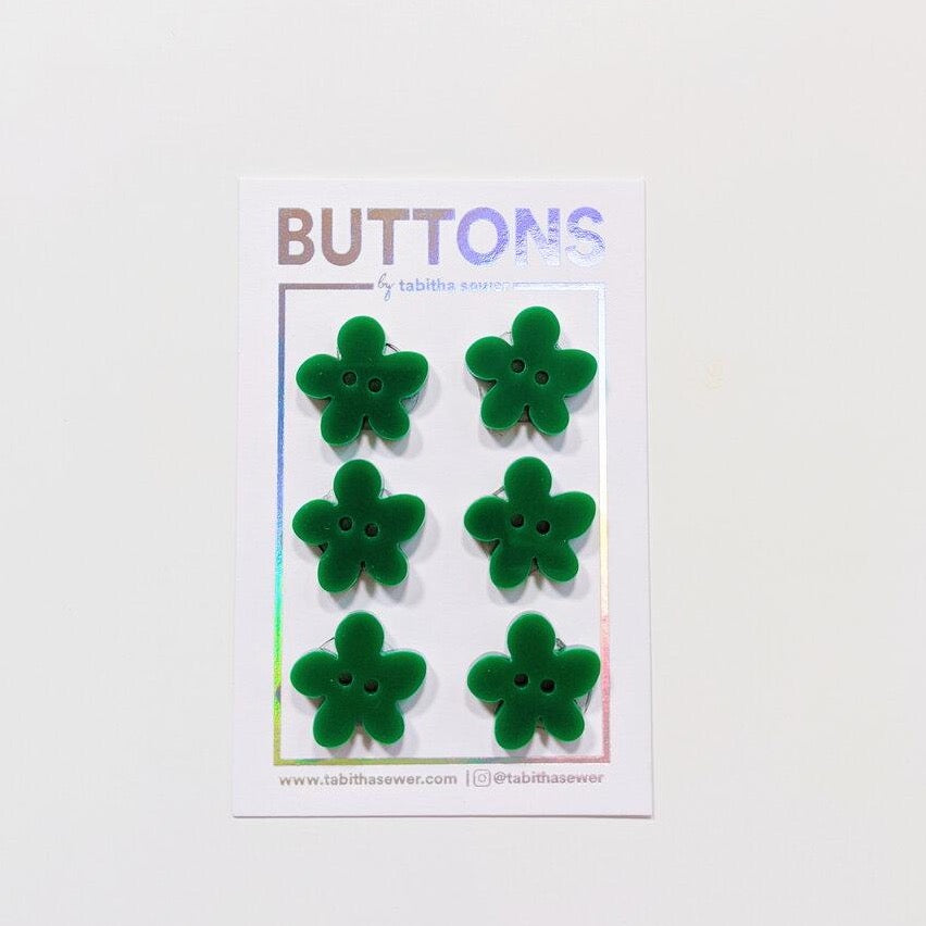 Green Flower Buttons