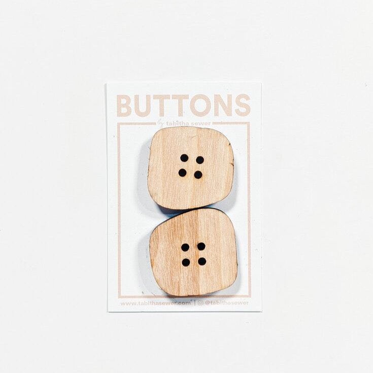 Large Wood Irregular Square Buttons