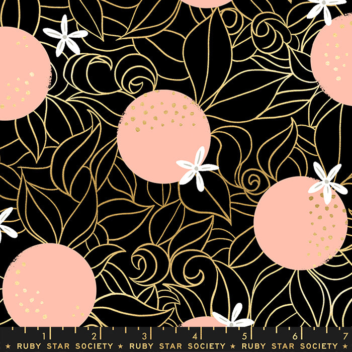 Florida Orange Blossoms by Ruby Star Society in Metallic Black