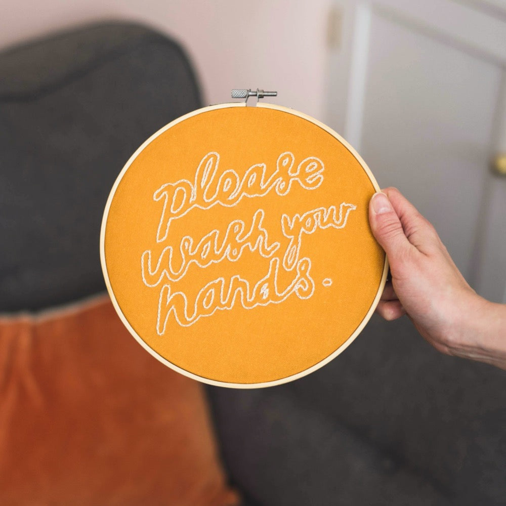 Please Wash Your Hands Embroidery Hoop Kit