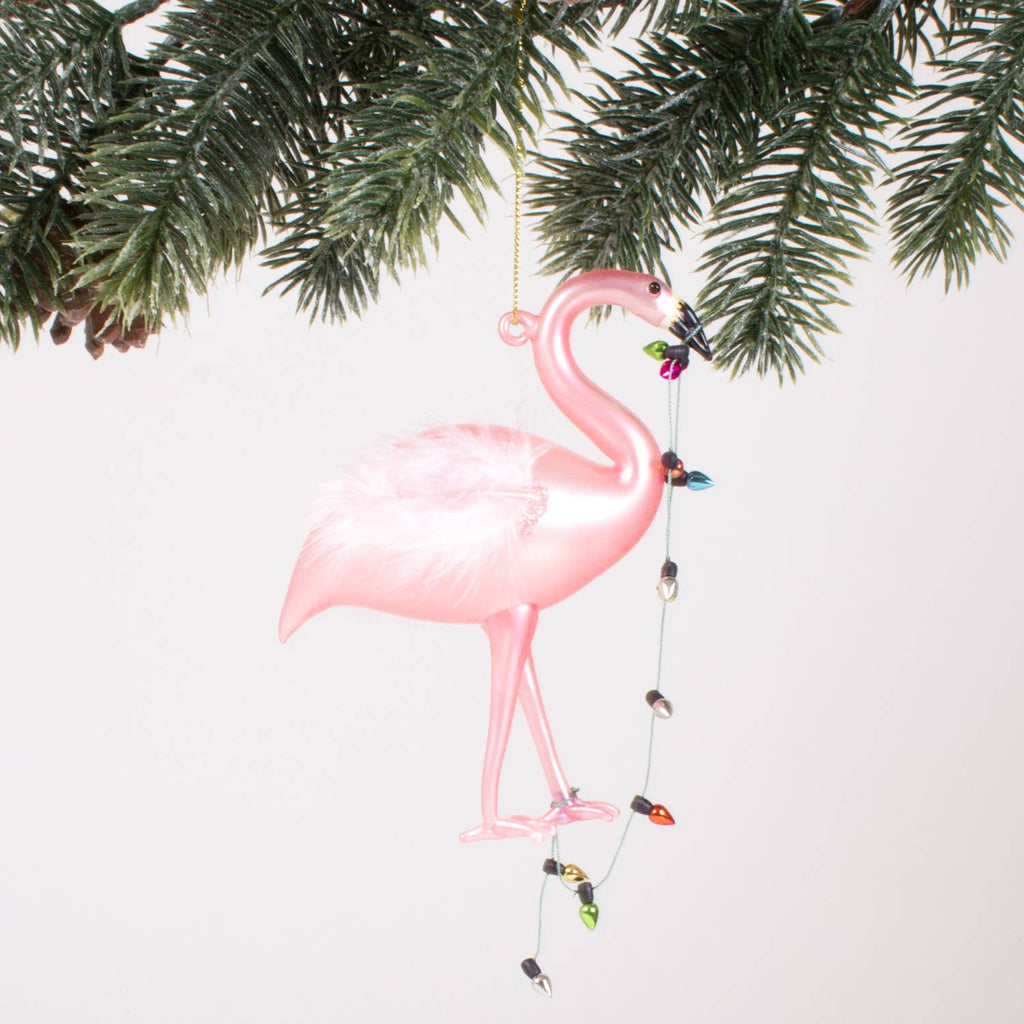 Pink Flamingo Glass Ornament