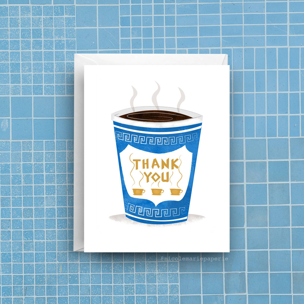 NYC Coffee Thanks Card (Single or Set of 6)