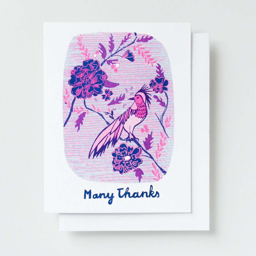 Many Thanks Bird Risograph Card