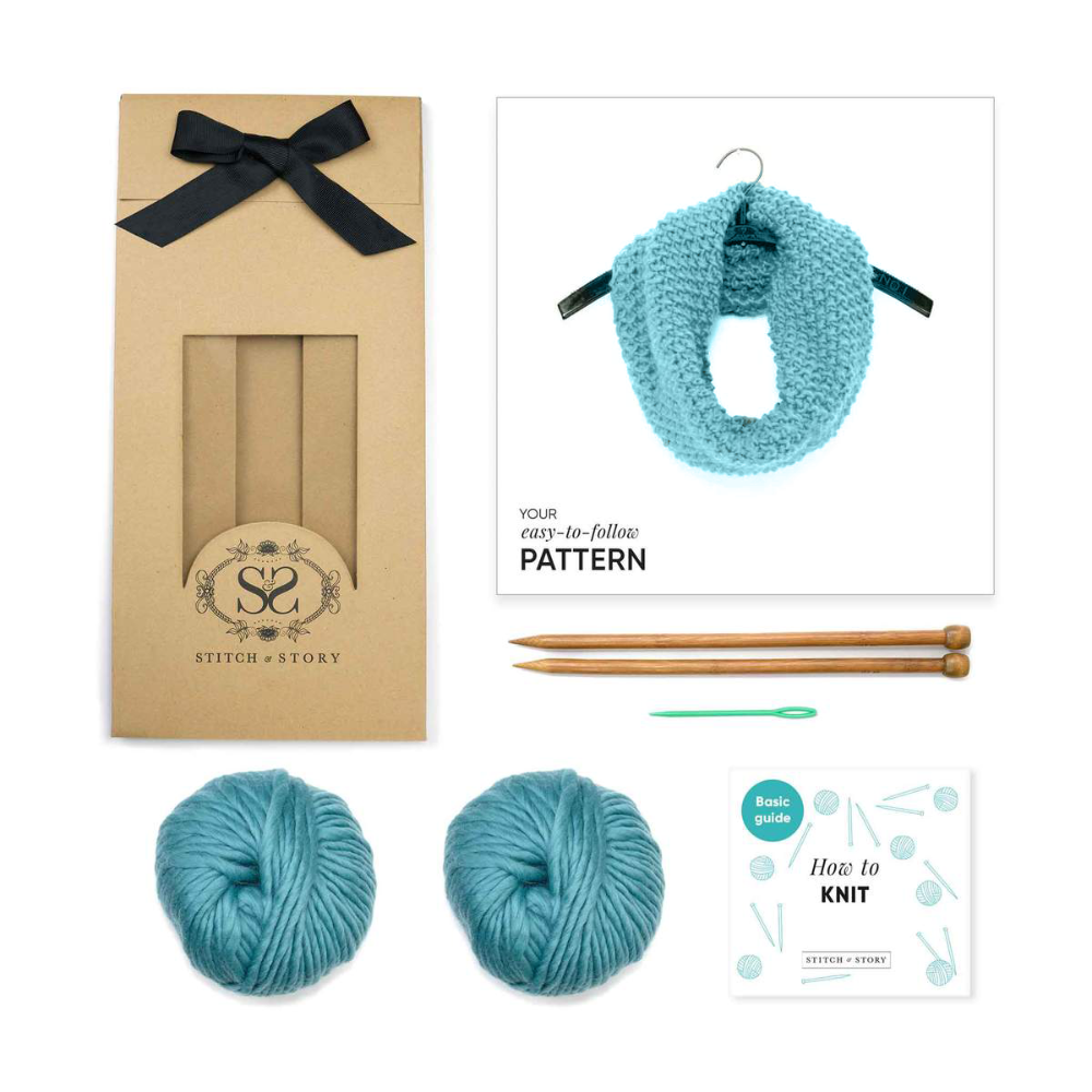 Beginner Knitting Kit - Mateusz Snood in Stone Teal