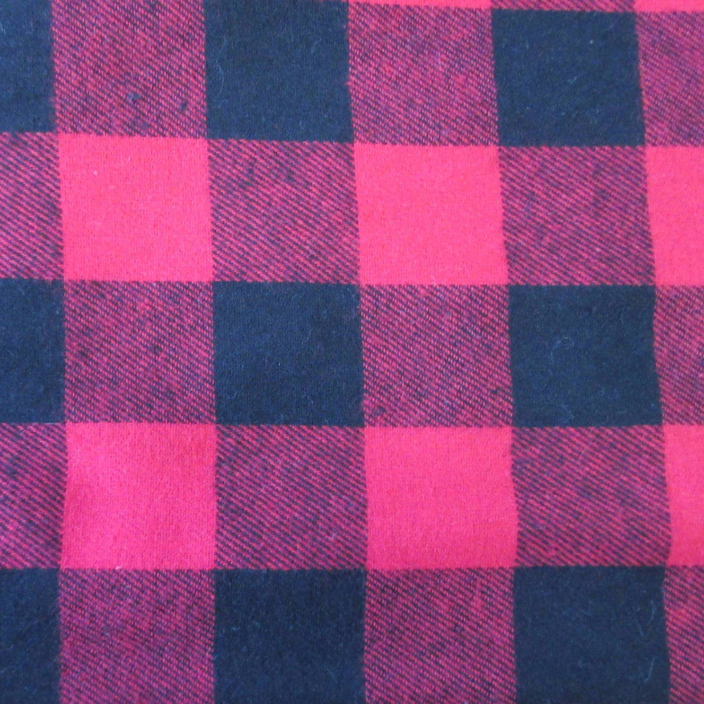 "1 1/4"" Buffalo Check Flannel by Richlin Fabrics in Red & Black"