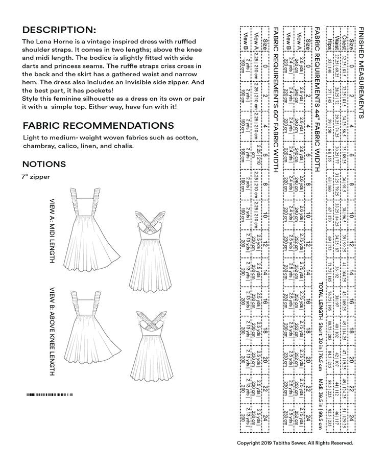Lena Horne Sewing Pattern