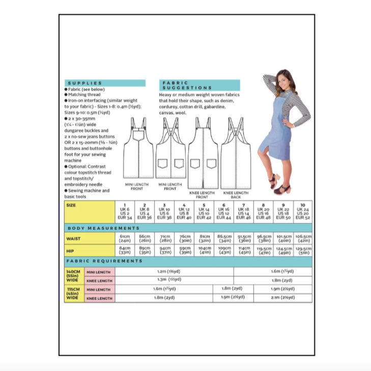 Cleo Dungaree Dress Pattern