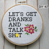 Let's Get Drinks Cross Stitch Kit