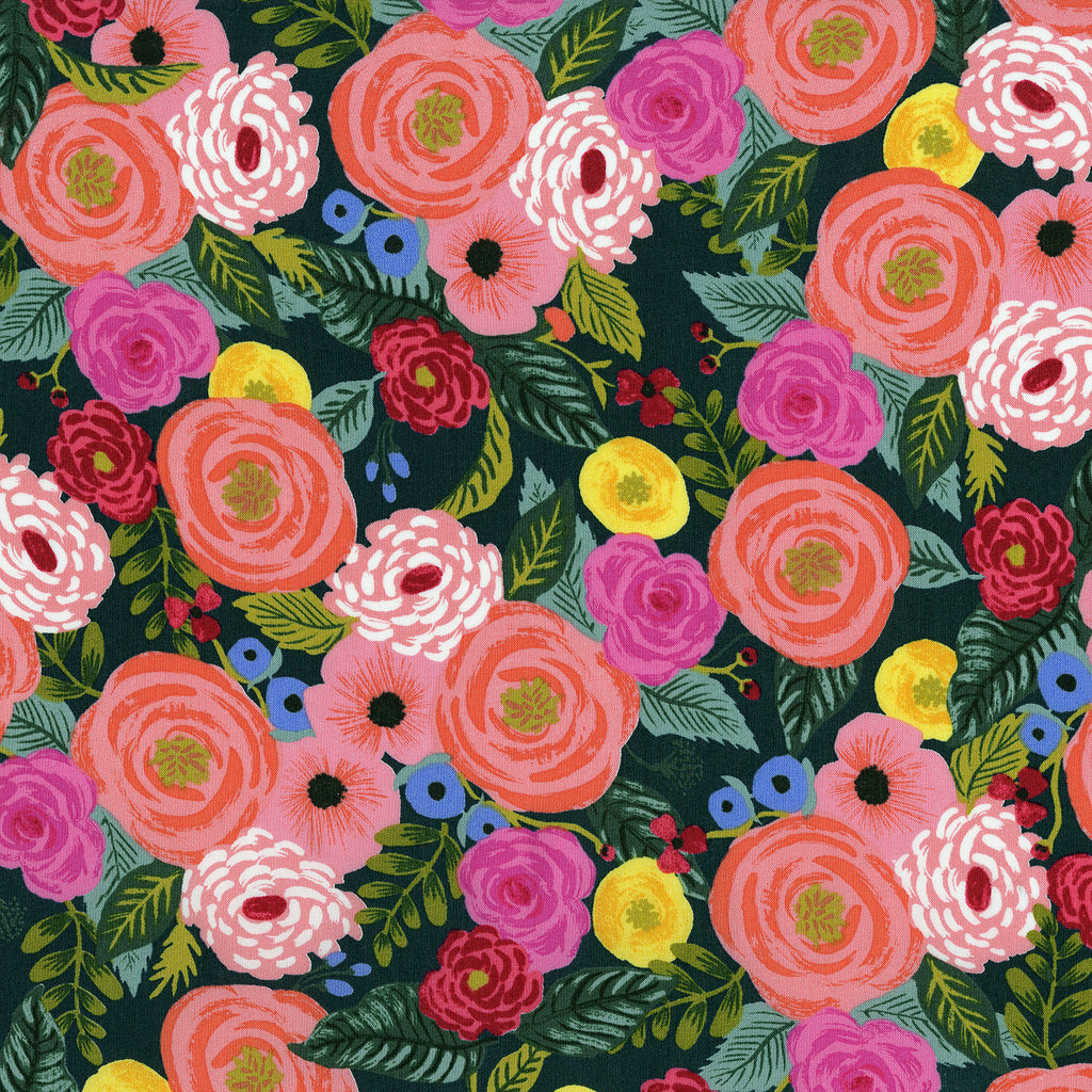 English Garden - Juliet Rose by Cotton + Steel in Navy Rayon