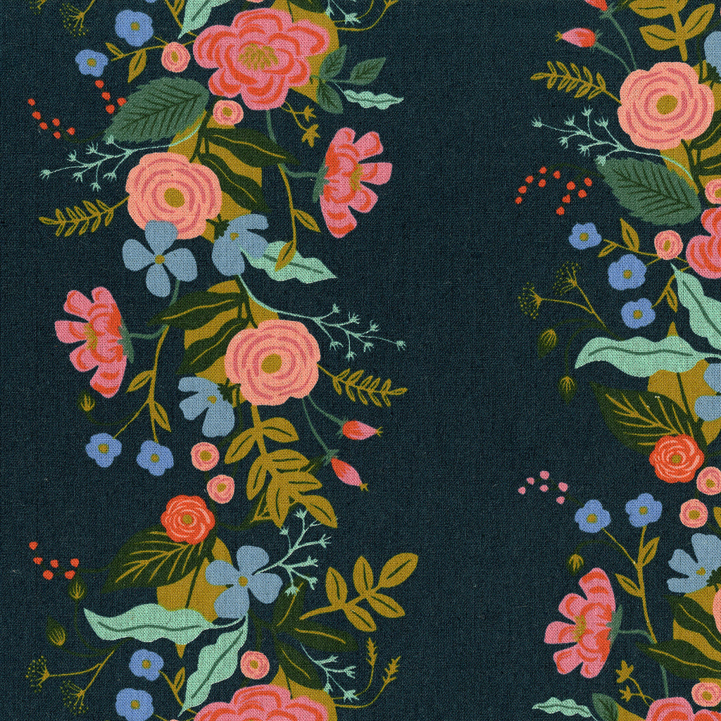 English Garden - Floral Vines by Cotton + Steel in Navy Canvas