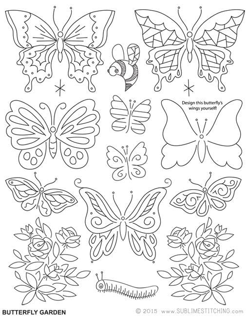 Butterfly Garden Embroidery Patterns