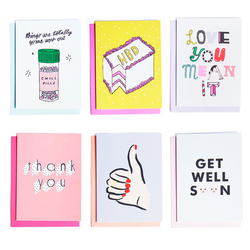bando hey girl hey greeting card set thank you get well love you