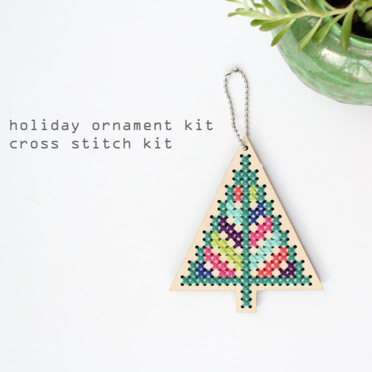 Holiday Tree Wood Ornament Cross Stitch Kit