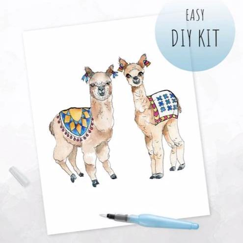 DIY Watercolor Kit - Alpacas