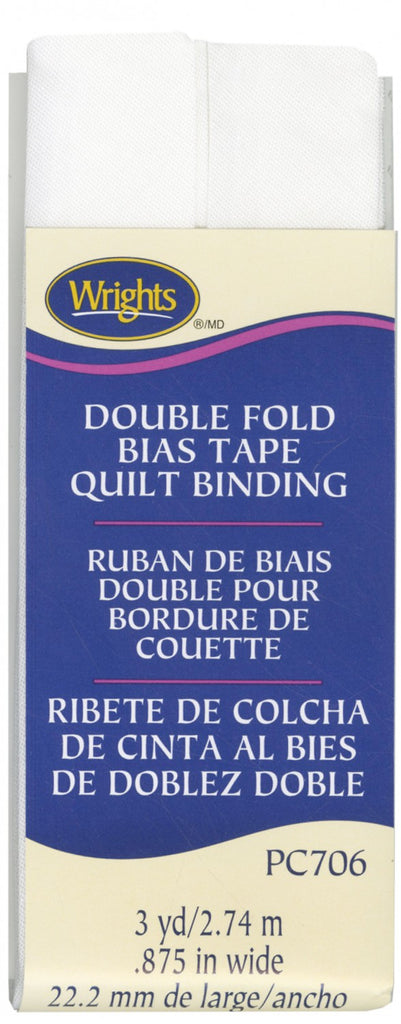 Double Fold Quilt Binding - White