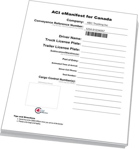 ACI eManifest Lead Sheets