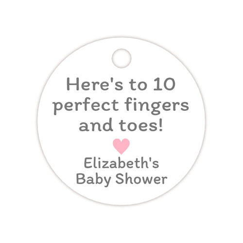 'Here's to 10 perfect fingers and toes' tags - Pink - Dazzling Daisies