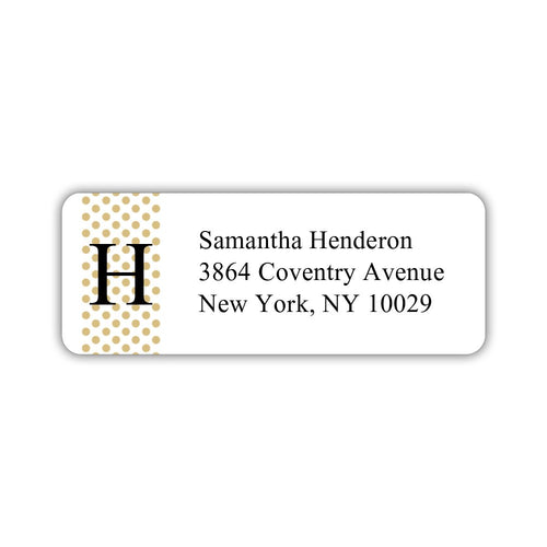 Return address labels 'Geometric Polka Dots' - Gold - Dazzling Daisies