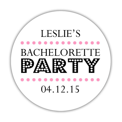 "Bachelorette party stickers 'Sassy Stipple' - 1.5"" circle = 30 labels per sheet / Pink - Dazzling Daisies"