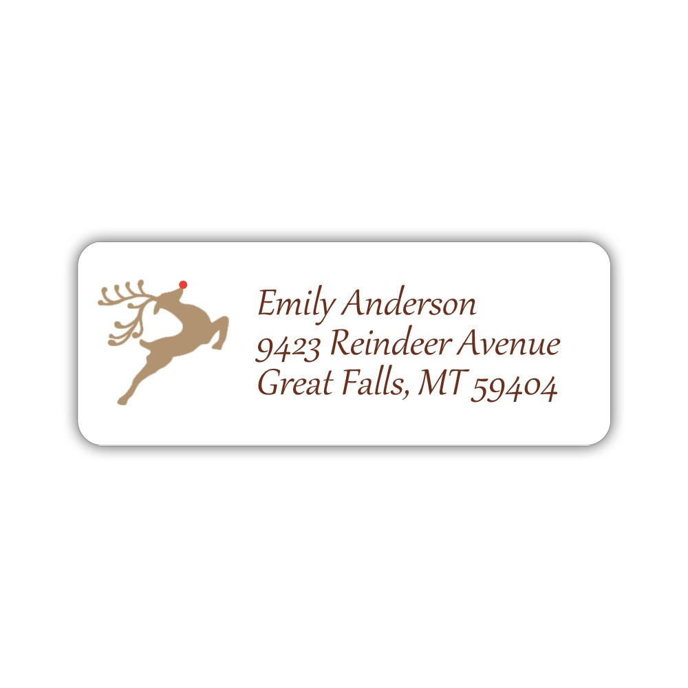 christmas return address labels reindeer dazzling daisies