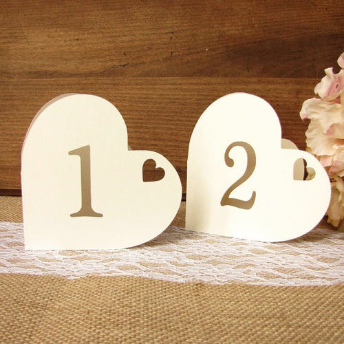 Heart table numbers - 1-6 / White / Regular - Dazzling Daisies
