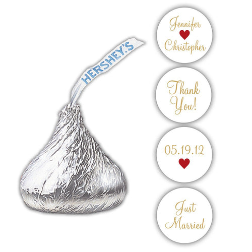 Hershey kiss stickers wedding - Gold/Indian red - Dazzling Daisies