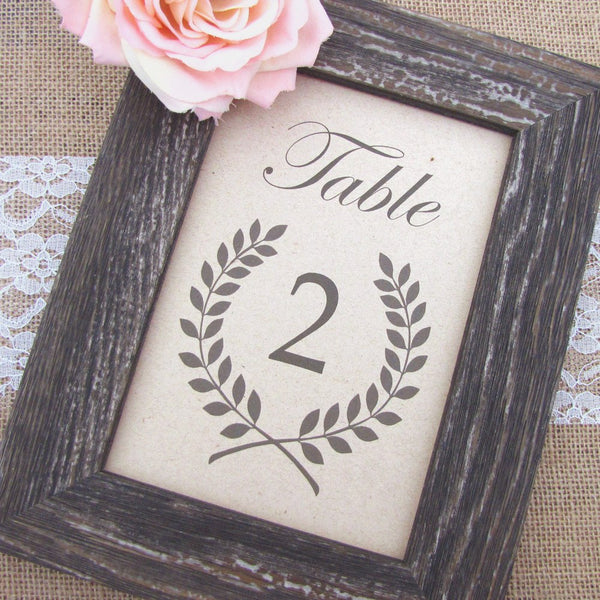 Rustic table numbers Laurel - 1-6 / White - Dazzling Daisies