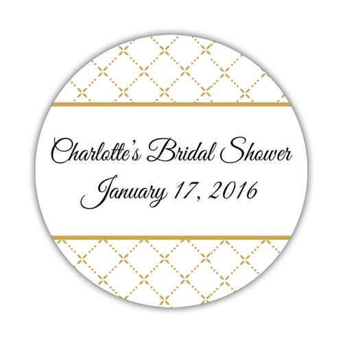 "Bridal shower stickers diamond - 1.5"" circle = 30 labels per sheet / Gold - Dazzling Daisies"