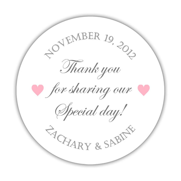 "Thank you for sharing our special day stickers - 1.5"" circle = 30 labels per sheet / Gray/Pink - Dazzling Daisies"